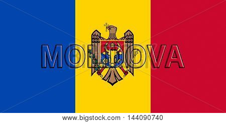 Illustration of the flag of Moldova with the country written on the flag