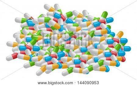 Medical Pile Of Pills Isolated On White Background