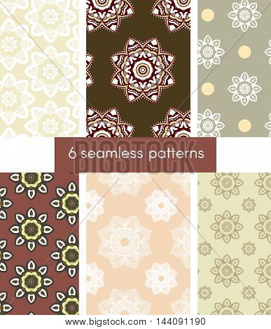6 seamless patterns arranged in set in autumn colors. Endless texture can be used for wallpaper textile pattern fills web page background.