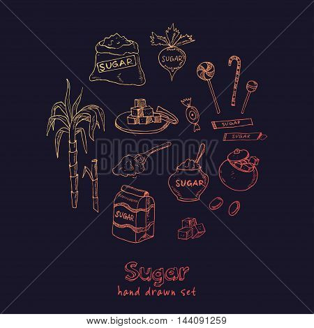 Doodle Set of sugar products Vector illustration for menus, recipes and packages