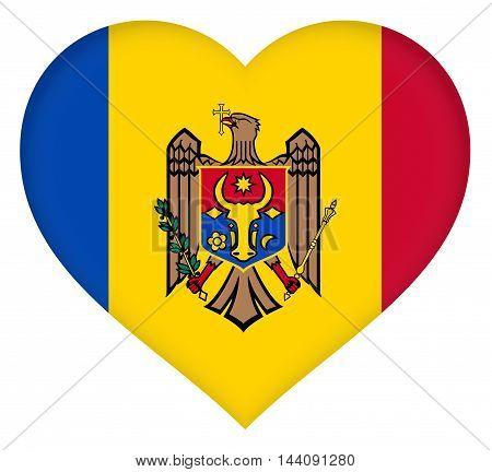 Illustration of the flag of Moldova shaped like a heart