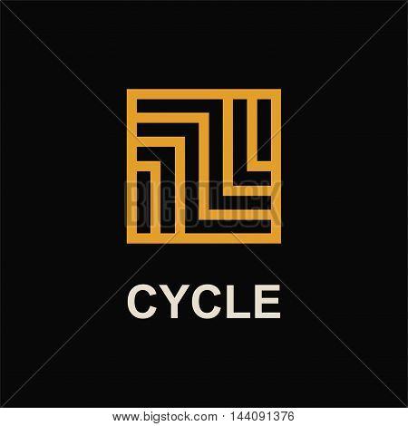 Modern template monogram, emblem, logo. Symbol of stripes and arrows symbolizing the development, cyclicity, stability.