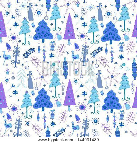 Christmas pattern - varied Xmas trees and snowflakes
