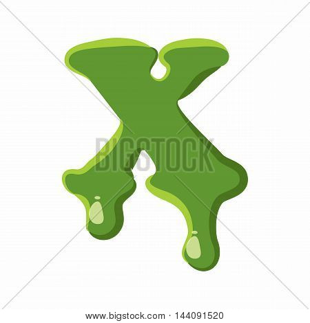 Letter X from latin alphabet with numbers and symbols made of green slime. Font can be used for Halloween design and other purposes