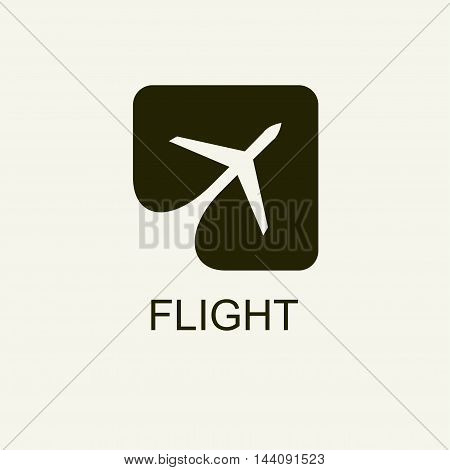 Silhouette of flying plane in the square. Template for logo, emblem.