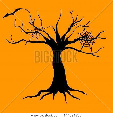 Abstract black Halloween illustration on yellow background