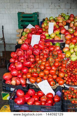 Fresh ripe tomatoes in a european market. Italy.