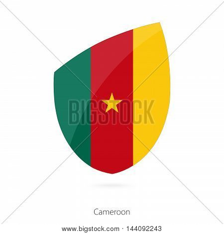 Flag Of Cameroon In The Style Of Rugby Icon.