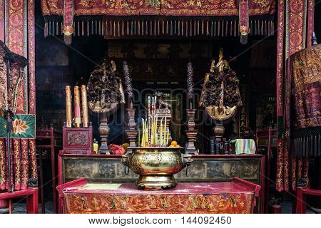 shrine altar detail inside famous chinese a-ma temple in macau china