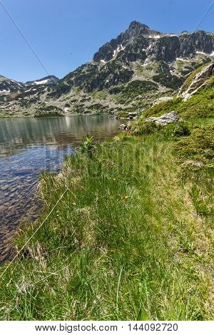 Amazing view of Dzhangal peak and Popovo lake, Pirin Mountain, Bulgaria