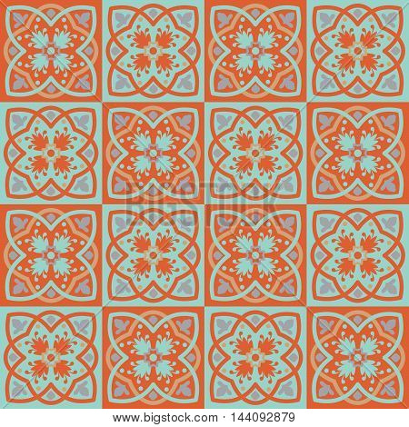 Gorgeous seamless pattern from colorful floral Moroccan, Portuguese tiles, Azulejo, ornaments. Can be used for wallpaper, pattern fills, web page background, surface textures.
