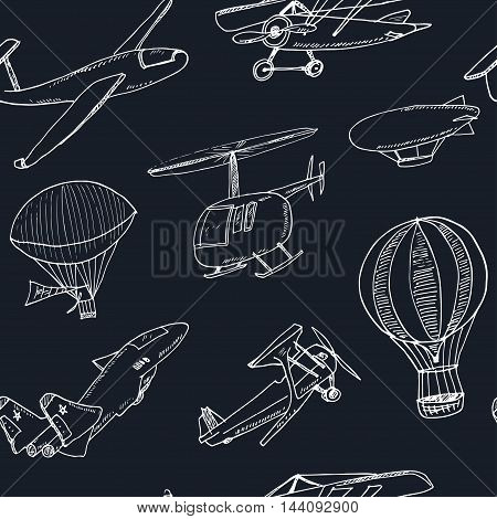 Doodle aviation seamless pattern Vintage illustration for identity, design, decoration, packages product and interior decorating.