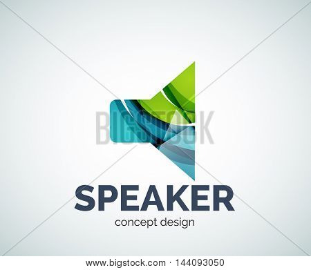 Speaker logo business branding icon, created with color overlapping elements. Glossy abstract geometric style, single logotype