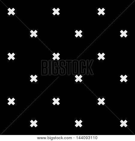 Minimal monochrome hand drawn pattern cross.Black and white.