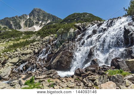 Waterfall and Sivrya peak, Pirin Mountain, Bulgaria