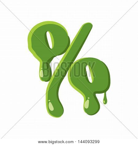 Percent sign from latin alphabet with numbers and symbols made of green slime. Font can be used for Halloween design and other purposes