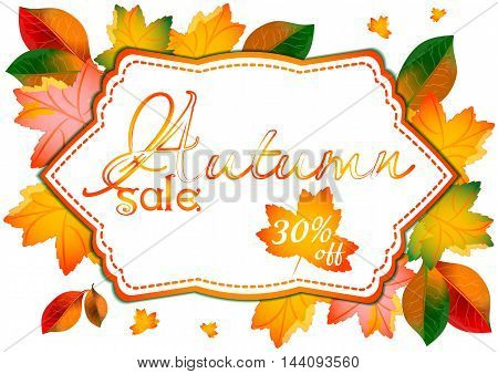 Autumn sale label with ornament from yellow and orange leaves with percents of discounts on white background. Vector illustration