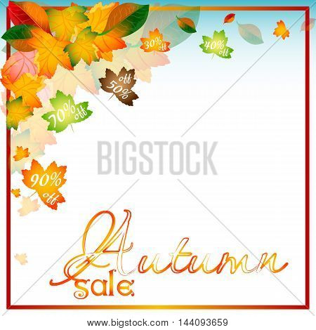 Abstract autumn sale background with foliage from falling leaves and percents of discounts inside on white background. Vector illustration