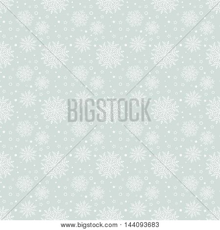 Winter vector light blue and white pattern with small and big snowflakes. Seamless abstract background