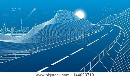 Highway in the mountains, night scene, neon city on background, white lines landscape, vector design art