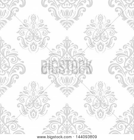 Damask vector classic light silver pattern. Seamless abstract background with repeating elements