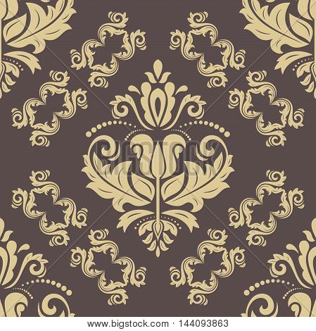 Seamless damask vector brown and golden pattern. Traditional classic orient ornament