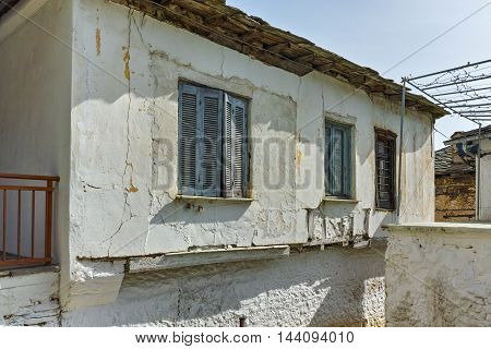 Window of Old houses in village of Panagia, Thassos island,  East Macedonia and Thrace, Greece
