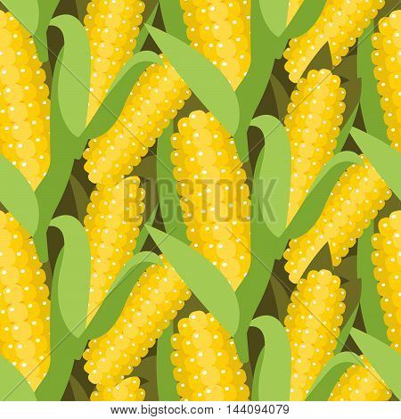 Corn seamless pattern vector illustration. Maize ear or cob harvest. Yellow sweetcorn and seeds dense background.