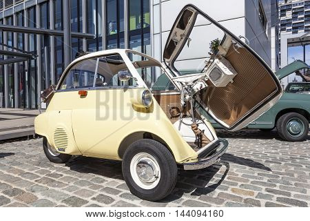 COLOGNE GERMANY - AUG 7 2016: Historic BMW 300 Isetta bubble car from ca. 1960 at an exhibition in the city of Cologne Germany