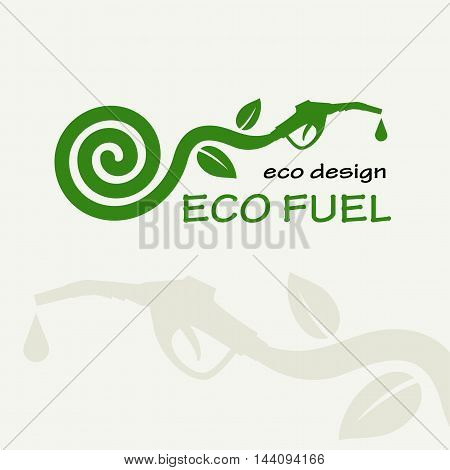ECO FUEL. Symbolic sprout plant spiral and refueling nozzle. Template for creating logos, emblems, monograms.