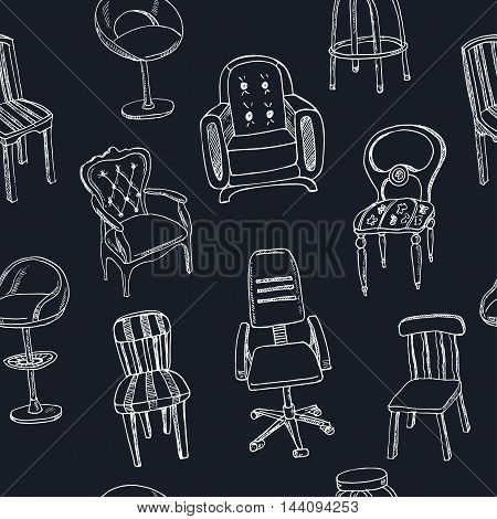 Doodle seamless pattern with isolated chairs Vector illustration