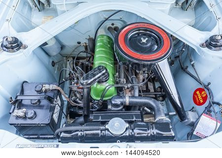 COLOGNE GERMANY - AUG 7 2016: Engine Bay of an old Audi at an exhibition in the city of Cologne Germany