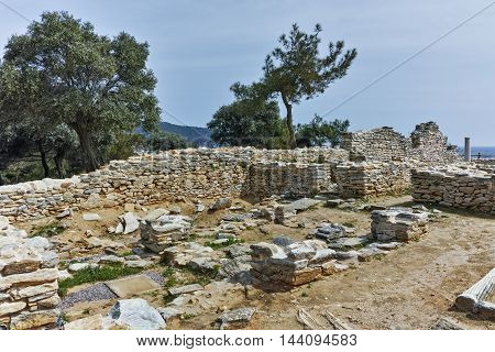 Ruins of ancient church in Archaeological site of Aliki, Thassos island,  East Macedonia and Thrace, Greece