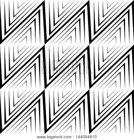Seamless Rhombus Pattern. Vector Black and White Background.