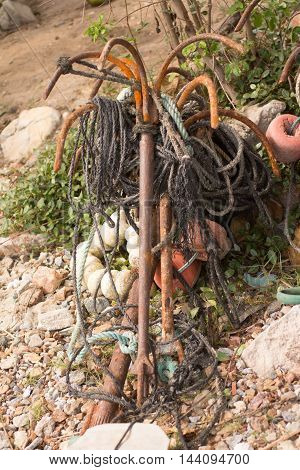 Rusty Anchors on the beach in Brazil