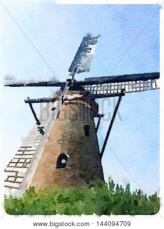Digital watercolor painting of a windmill with grass in front and a blue sky with clouds background on a sunny day. Space for text.