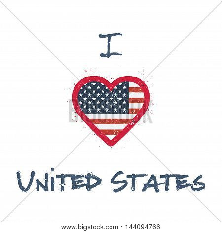I Love United States T-shirt Design. American Flag In The Shape Of Heart On White Background. Grunge