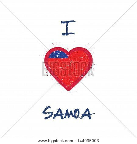 I Love Samoa T-shirt Design. Samoan Flag In The Shape Of Heart On White Background. Grunge Vector Il