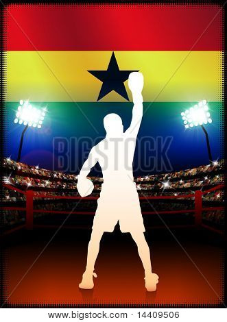 Ghana Boxing Event with Stadium Background and Flag Original Illustration