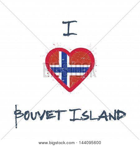 I Love Bouvet Island T-shirt Design. Bouvet Island Flag In The Shape Of Heart On White Background. G