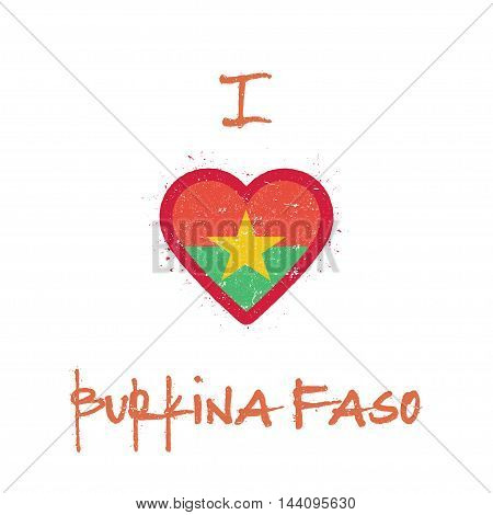 I Love Burkina Faso T-shirt Design. Burkinabe Flag In The Shape Of Heart On White Background. Grunge