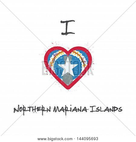 I Love Northern Mariana Islands T-shirt Design. American Flag In The Shape Of Heart On White Backgro