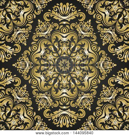Seamless damask vector black and golden pattern. Traditional classic orient ornament