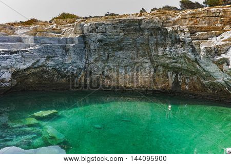 Rocks and Giola Natural Pool in Thassos island, East Macedonia and Thrace, Greece