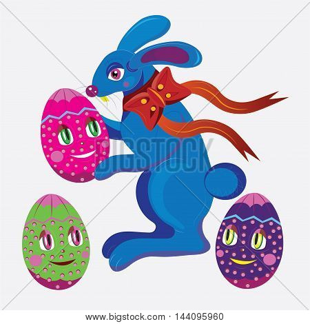 The rabbit monster holds the egg. Three eggs with eyes look at him