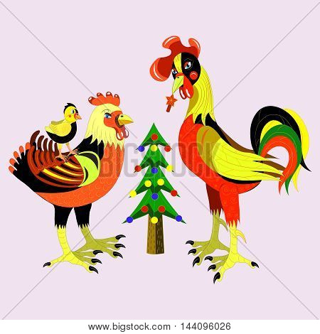 The rooster, chicken, stand and look at a firtree