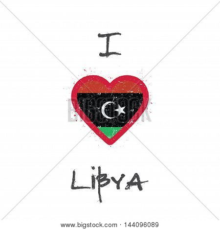 I Love Libya T-shirt Design. Libyan Flag In The Shape Of Heart On White Background. Grunge Vector Il