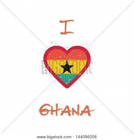 I Love Ghana T-shirt Design. Ghanaian Flag In The Shape Of Heart On White Background. Grunge Vector