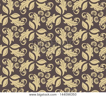 Floral vector brown and golden ornament. Seamless abstract classic pattern with flowers