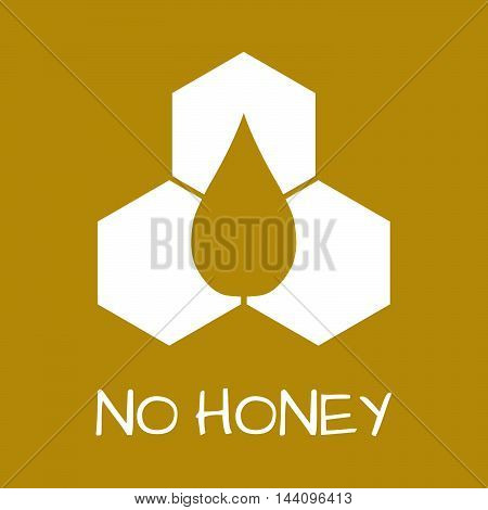 No Honey Label. Food Intolerance Symbols. Vector Illustration.